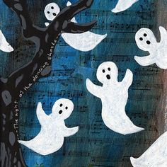 Dancing Halloween Ghosts Mixed Media Painting, Original Artwork on 8 x 10 Canvas, Home Decor, Children's Room Art, Wall Hanging