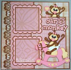 ELITE4U Lisa Premade Scrapbook Page Paper Piecing FOR Album Baby Girl Monkey | eBay