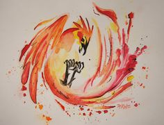 Phoenix Original Watercolor Painting by HedgieArtwork on Etsy