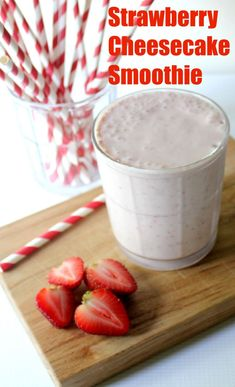 Strawberry cheesecake smoothie recipe for National Cheesecake Day - No crust so it's gluten free