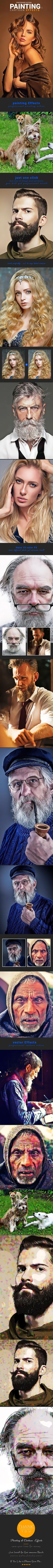 Painting & Cartoon Effects — Photoshop ATN #pop art #comic book • Available here ➝ https://graphicriver.net/item/painting-cartoon-effects/20865260?ref=pxcr