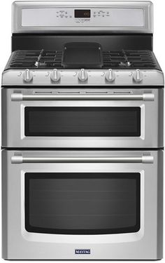 Maytag - 6.0 Cu. Ft. Self-Cleaning Freestanding Double Oven Gas Convection Range - Stainless Steel - Front_Standard