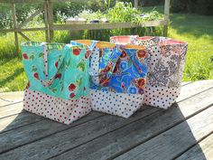 Three Oilcloth totes Used Bijou Lovely market bag tutorial