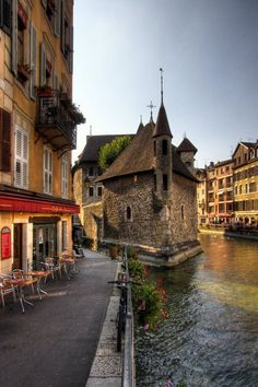 "Annecy, Haute Savoie, France - great place for a glass of wine and watching the water ""traffic."""