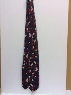 "Vinatge ""Lilly Dache"" Brown with Square Design Men's Tie"