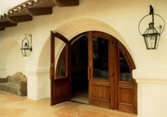 arched doorway, like a hobbit hole.