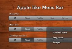 XOOplate :: Apple Inspired Navigation Menu Bar PSD - This is inspired from the Apple's navigation menu bar and PSD contains all the 3 stages of the menu.