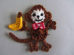 banana, monkey, crochet appliques