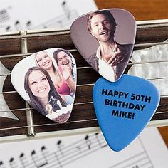 How cool! You can turn your favorite picture into guitar picks! And you can personalize the back side of the pick with any message you'd like too! Such a unique gift idea for music lovers or self promoting for bands!