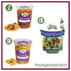 1. Nut & Honey Granola 2. Vanilla Crunch Granola 3. Salad Fixins  #GMOFree #NonGMO #NonGMOProject