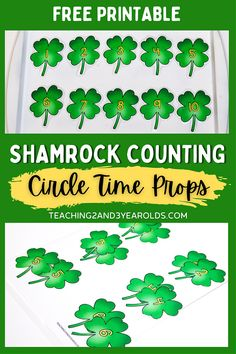 Put together a fun St. Patrick's Day counting activity with these free printable props! Perfect for circle time, but can also be used as a table activity. #stpatricksday #shamrock #numbers #counting #circletime #printable #prop #math #spring #preschool #toddlers #2yearolds #3yearolds #teaching2and3yearolds Circle Time Songs, Circle Time Activities, Counting Activities, Preschool Activities, Shamrock Printable, Toddler Circle Time, Rainbow Learning, Book Stands