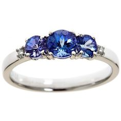 Anika and August Sterling SilverTanzanite and Diamond Accent Ring (470 BRL) ❤ liked on Polyvore featuring jewelry, rings, white, long rings, diamond accent ring, wide band rings, round cut rings and round ring