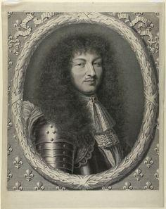 Robert Nanteuil | Portret Lodewijk XIV, Robert Nanteuil, 1668 | Buste naar rechts, in ovale lauwerkrans , omlijst door Franse lelies