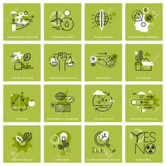 Set of thin line icons of environment renewable energy sustainable technology recycling ecology solutions. Premium quality icons for website mobile website and app design. Sustainable Environment, Sustainable Energy, Sustainability, App Design, Design Set, Nikola Tesla, Renewable Energy, Solar Energy, Solar Power