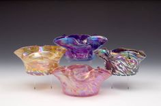 Rosetree Blown Glass Studio Fluted Dishes