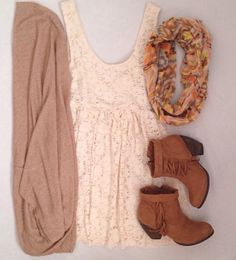 White summer dress + casual cardigan + scarf + p(possibly a belt at the waist + and ankle booties. Easter outfit inspiration?