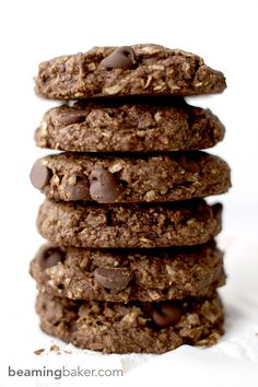 Rich, chewy & indulgent Double Chocolate Chip Coconut Cookies - a simple, vegan recipe for twice the chocolate plus coconut oil, coconut sugar and coconut shreds! BEAMINGBAKER.COM