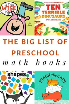 A big list of preschool math books to teach preschool math concepts such as counting, measuring, patterning, and adding. Also suggestions for the 100th day of school.