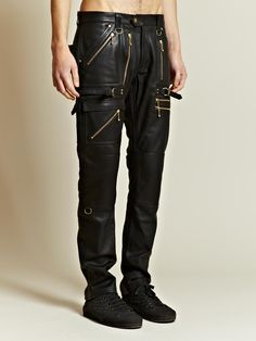 cce54b1deee Blackmeans Men s Multiple Zip Pocket Leather Trousers Mens Leather  Trousers