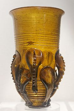Claw beaker decorated with applied trails 400 and circa 599 blown glass  Anglo Saxon glass British Museum