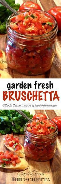 Perfect summer appetizer and deliciously simple to make… Garden Fresh Bruschetta! Perfect summer appetizer and deliciously simple to make! Perfect as an appetizer great over chicken. Use the best tomatoes you can find fresh basil! Clean Eating, Healthy Eating, Good Food, Yummy Food, Appetisers, Canning Recipes, Appetizer Recipes, Party Appetizers, Elegant Appetizers