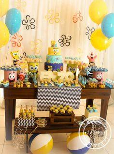 Spongebob Party Supplies, Spongebob Birthday Party, Superhero Birthday Party, Birthday Themes For Boys, Kids Party Themes, Birthday Party Decorations, Party Ideas, 25th Birthday Cakes, 6th Birthday Parties