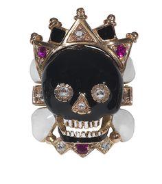 Bernardo Antichità Skull diamond and enamel ring