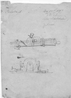 The original Edison sketch from which the first phonograph, using tinfoil as the recording medium, was made by his craftsmen, for testing. And the phonograph worked the very first time! It was his favorite invention.