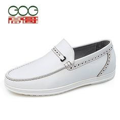 GOG Casual shoes increased stealth leather men's driving shoes spring new sets foot elevator shoes 6cm
