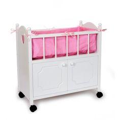 Cama cuna para muñecas con armario y ruedas en madera blanca
