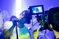 The crew from ECG Productions filmed a music video using four of the IDMX1500 LED lights as practicals to light the scene and you can see the D5w field monitor connected to their Blackmagic Cinema Camera.