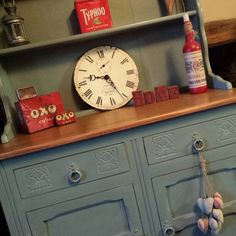 Oooooo Duck Egg Blue ♥ A stunning oak dresser, painted with Annie Sloan Duck Egg Blue Chalk Paint. Lightly distressed and clear waxed. Top has been sanded back to reveal the natural beauty of the oak grain. Splits in two pieces. #misselaineous #anniesloan #chalkpaint #morethanpaint #reloved #duckeggblue #sideboard #dresser #countrystyle #farmhouse #rustic #kitchen #oak #strippedgrain #carved #vintage #shabbychic #stunning #clearwax #distressed #ascp #2015 #love