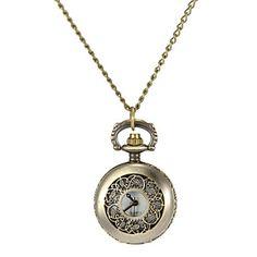 Women's Hollow Flower Cover Vintage Lichtmetalen Quartz analoog ketting horloge – EUR € 5.75