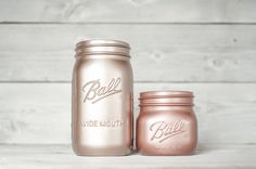 Valspar Rose Gold and Rustoleum Copper Metallic spray paint - vase colors for the centerpieces Spray Paint Colors, Metallic Spray Paint, Spray Painting, Gold Paint, Copper Rose, Rose Gold, Mason Jar Crafts, Mason Jars, Do It Yourself Home