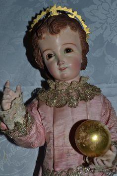 PRECIOSO NIÑO JESUS DE TALLA DE VESTIR CON SU PEANA DORADA ,S. XIX  Nino #Jesus