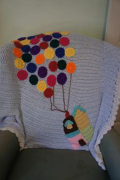 Crochet floating house blanket in a Disney Pixar Up Nursery