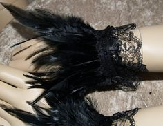 Pair Black Feather Wrist Cuffs by meankittywear on Etsy, $20.00