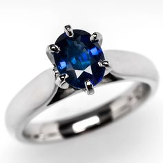 Sapphire Engagement Ring w/ 1.6 Carat Oval Solitaire in Platinum