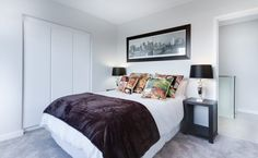 Love this gorgeous bedroom. Even a small bedroom can look light and airy. In fact smaller rooms are easier to keep tidy and drawers under the bed are a smart way to maximise space. Furniture Decor, Bedroom Furniture, Bedroom Decor, Bedroom Ideas, Bedroom Chest, Wall Decor, Bedroom Images, Bedroom Themes, Bedroom Bed