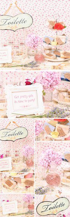 Inspiración para decorar el baño de las invitadas usando vajillas vintage para colocar jabones, algunas flores y perfumes.