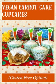 Gluten Free Carrot Cake, Vegan Carrot Cakes, Vegan Gluten Free, Gluten Free Recipes, My Recipes, Carrot Cake Cupcakes, Vanilla Frosting, Cravings, Carrots