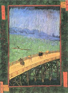 Bridge in the Rain (after Hiroshige) by Van Gogh. 1887. Among his favorite subject was bridges. This direct copy of a print by Hiroshige was very carefully done.