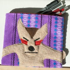 Coyote Zipper Pouch Handmade in Norway Quality Crafts by Kuriosart