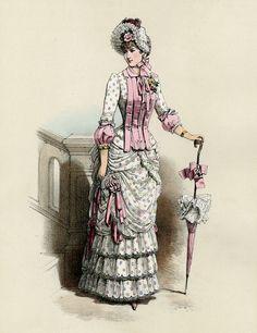 Gorgeous Fashion Print 1883 Paris Antique by AntiquePrintBoutique