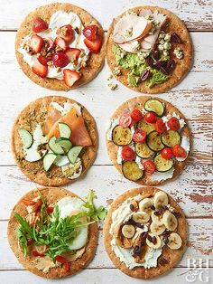 No more sad desk lunches for you! These easy pita bread recipes are great for grabbing on the go. Start with whole wheat pita bread, then choose one of six Mediterranean-inspired toppings for a delicious and fresh meal.