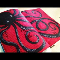 Journaling..excellent drama with the red and black.
