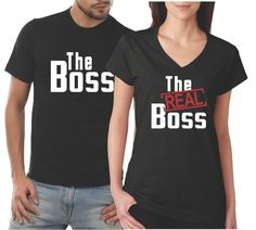 a2b557510 Matching Couples Shirts The Boss The Real Boss His and Hers Shirt Set
