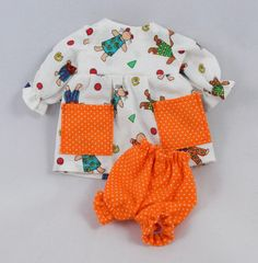 Doll Clothes: White Dress Orange Bloomers For by JoellesDolls