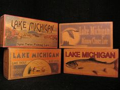 Lake Michigan trout fishing lure box decorations.  Boxes available for any lake, river, pond  creek or bay.
