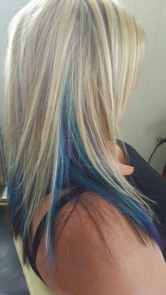 Chunky blonde highlights with blue, turquoise and purple through it ~ by Jenn's hair Studio //Next hair color\\ Hair Color Blue, Blonde Color, Cool Hair Color, Purple Hair, Blonde And Blue Hair, Icy Blonde, Purple Teal, Chunky Blonde Highlights, Blue Peekaboo Highlights